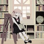 1girl artist_name ascot bangs black_footwear blonde_hair book book_stack bookshelf covering_one_eye eyebrows_visible_through_hair full_body globe high_heels highres holding holding_book indoors ladder leaning_back library long_hair long_sleeves looking_at_viewer no_nose noeru_(noellemonade) original parted_lips plant potted_plant red_neckwear solo transparent window