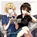 2girls adapted_uniform bangs bespectacled black-framed_eyewear black_neckwear black_shirt blue_shirt blue_skirt blush book border closed_mouth commentary_request couch cup darjeeling eighth_note frown girls_und_panzer glasses holding holding_book holding_cup kuromorimine_military_uniform looking_at_viewer miniskirt multiple_girls musical_note necktie nishizumi_maho on_couch outside_border pinky_out pleated_skirt shirt short_hair short_sleeves sitting sitting_on_lap sitting_on_person skirt smile st._gloriana's_school_uniform summer_uniform teacup thank_you v-neck white_shirt wing_collar yuuyu_(777)