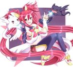 1girl breasts eyebrows_visible_through_hair hair_ornament jinx_(league_of_legends) league_of_legends looking_at_viewer low_twintails redhead ribbon short_twintails skirt star_guardian_jinx twintails
