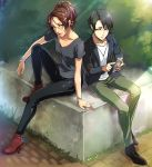 1boy 1girl arm_support black_footwear black_hair black_jacket black_pants boots bracelet brown_eyes brown_hair collarbone day full_body glasses green_pants grey_shirt hange_zoe high_ponytail highres holding jacket jewelry lens_flare levi_(shingeki_no_kyojin) necklace null_(chronix) open_clothes open_jacket outdoors pants parted_lips red_footwear shingeki_no_kyojin shiny shiny_clothes shirt short_hair short_sleeves sitting sunlight white_shirt