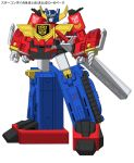 2boys 80s autobot blue_eyes character_request commentary full_body fusion ground_vehicle headgear holding insignia machine machinery mecha motor_vehicle multiple_boys new_rodimus no_humans oldschool optimus_prime robot rodimus sanarii science_fiction shoulder_cannon standing star_convoy transformers translation_request truck weapon