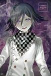 1boy :d black_hair chains checkered checkered_neckwear copyright_name cravat danganronpa double-breasted eyebrows_visible_through_hair hair_between_eyes head_tilt kippu long_sleeves looking_at_viewer male_focus messy_hair multicolored_hair new_danganronpa_v3 open_mouth ouma_kokichi pale_skin purple_background purple_hair ringed_eyes round_teeth safety_pin signature smile smoke solo streaked_hair teeth unmoving_pattern upper_body upper_teeth white_coat