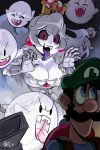 alex_ahad black_sclera blue_eyes boo breasts facial_hair ghost hat highres king_boo long_hair luigi luigi's_mansion mustache princess_dress princess_king_boo red_eyes sharp_teeth super_crown teeth tongue tongue_out vacuum_cleaner white_hair white_skin