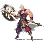 1boy 1girl armor axe battle_axe beard boots breastplate closed_mouth facial_hair fantasy_earth_genesis grey_hair holding holding_weapon looking_at_viewer matsui_hiroaki muscle mustache official_art pants red_pants shirt sleeveless sleeveless_shirt smile solo two-handed veins waist_cape weapon wristband