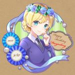 1girl award_ribbon bangs black_neckwear blonde_hair blue_eyes blue_flower blue_rose blue_sweater blush braid brown_background character_name closed_mouth collared_shirt commentary cursive darjeeling dated dress_shirt emblem eyebrows_visible_through_hair flower girls_und_panzer hair_flower hair_ornament hand_on_own_face happy_birthday head_wreath kakuzatou_(boxxxsugar) lips long_sleeves looking_at_viewer necktie ribbon rose school_uniform shirt short_hair smile solo st._gloriana's_(emblem) st._gloriana's_school_uniform sweater swept_bangs tied_hair twin_braids upper_body v-neck white_shirt wing_collar