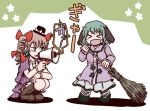 >_< 2girls animal_ears bangs black_hat blush boots bow broom brown_eyes brown_footwear brown_hair dress drill_hair floppy_ears green_hair hair_bow hat hat_bow hat_ribbon holding holding_broom jacket jiru_(jirufun) kasodani_kyouko long_hair long_sleeves medium_hair multiple_girls no_nose open_clothes open_jacket open_mouth purple_jacket red_bow ribbon squatting touhou translated white_bow white_ribbon yorigami_jo'on