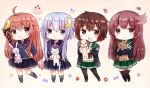 4girls :3 :d animal animal_hug bangs bear black_jacket black_legwear black_ribbon blue_eyes blue_hair blue_shirt blush brown_eyes brown_hair car chibi closed_mouth crescent crescent_hair_ornament dog eyebrows_visible_through_hair food frilled_skirt frills fruit green_sailor_collar green_skirt grey_footwear ground_vehicle hair_between_eyes hair_ornament hair_ribbon holding holding_animal jacket kantai_collection kisaragi_(kantai_collection) kneehighs long_hair looking_at_viewer mazeru_(jisjifin) motor_vehicle multiple_girls mutsuki_(kantai_collection) navy_blue_legwear open_clothes open_jacket open_mouth pantyhose pleated_skirt purple_skirt rabbit red_eyes redhead remodel_(kantai_collection) ribbon sailor_collar school_uniform serafuku shirt skirt smile strawberry thigh-highs uzuki_(kantai_collection) very_long_hair violet_eyes yayoi_(kantai_collection)