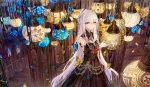 1girl ahoge arm_at_side bai_qi-qsr bangs bare_shoulders black_dress black_nails blood braid bug butterfly candle candlestand chains chinese_commentary commentary_request detached_collar detached_sleeves dress dust_particles elbow_sleeve eyebrows_visible_through_hair feathers feet_out_of_frame gem grey_hair hair_between_eyes hair_feathers hair_ornament hand_up heterochromia insect lamp lens_flare light_smile long_hair multicolored_hair nail nail_polish original purple_hair shoulder_tattoo sidelocks solo spiral_staircase stairs standing straight_hair strapless strapless_dress streaked_hair tattoo very_long_hair violet_eyes yellow_eyes