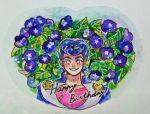 1boy blush brooch collarbone diamond_wa_kudakenai flower happy_birthday heart higashikata_jousuke jewelry jojo_no_kimyou_na_bouken leaf looking_at_viewer male_focus mani_(rokyujuusan) parted_lips peace_symbol pink_shirt plant pompadour purple_flower shirt smile solo sparkle sparkling_eyes star traditional_media upper_body watercolor_(medium)