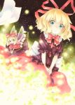 2girls blonde_hair blue_eyes eyelashes fairy_wings field fireflies flower flower_field funnyfunny glowing highres huge_bow lily_of_the_valley looking_at_viewer medicine_melancholy multiple_girls no_mouth puffy_short_sleeves puffy_sleeves red_ribbon red_skirt ribbon short_hair short_sleeves sitting skirt smile su-san touhou traditional_media wings