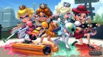 4girls black_hair blonde_hair blue_eyes brown_hair company_connection earrings eyeshadow fangs hair_over_one_eye hat ink inkling jewelry looking_at_viewer makeup mario_(series) multicolored_hair multiple_girls nintendo octoling open_mouth pauline_(mario) princess_daisy princess_peach rosetta_(mario) smile splat_charger_(splatoon) splat_dualies_(splatoon) splat_roller_(splatoon) splatoon standing suction_cups super_mario_bros. super_mario_galaxy super_mario_odyssey super_smash_bros. tentacle_hair theskywaker two-tone_hair weapon