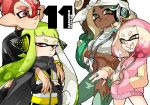 1boy 3girls agent_8 backwards_hat bandanna bangs baseball_cap black_jacket black_skirt blunt_bangs brown_eyes crop_top crossed_arms dark_skin dated fang fangs frown glasses gradient_hair green_hair green_pants half-closed_eyes halterneck hand_in_pocket hat headgear headphones hime_(splatoon) hug hug_from_behind iida_(splatoon) inkling jacket jewelry light_frown long_hair looking_at_viewer medallion mole mole_under_eye multicolored_hair multiple_girls necklace nintendo octarian octoling open_mouth pants pink_hair pink_hat pink_shirt red_eyes red_hat ring shirt short_hair skirt smile splatoon splatoon_2 splatoon_2:_octo_expansion squidbeak_splatoon v-shaped_eyebrows vest white_hair white_pants white_shirt wristband yellow_vest yeneny
