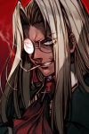 1girl blue_eyes cigar clenched_teeth collared_shirt glasses hankuri hellsing integra_hellsing long_hair red_background red_neckwear shirt silver_hair smoking solo teeth