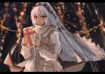 1girl altera_(fate) aruto2498 bangs blunt_bangs blush breasts commentary_request dark_skin eyebrows_visible_through_hair fate/grand_order fate_(series) gift headdress holding holding_gift jacket lights long_sleeves looking_at_viewer night open_mouth outdoors red_eyes scarf short_hair small_breasts solo standing tan tree veil white_hair white_jacket white_scarf