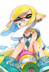 1girl artist_name bangs blunt_bangs closed_eyes collarbone commentary_request domino_mask eyebrows facing_viewer fangs grin hanako515_ika highres ink ink_on_face ink_tank_(splatoon) inkling inkling_(language) jewelry looking_at_viewer mask nintendo pointy_ears shoe_ribbon shoes shorts signature simple_background single_earring sitting smile solo splatoon splatoon_2 splattershot_(splatoon) tank_top teeth tentacle_hair weapon