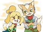 1boy 1girl animal_ears blonde_hair blue_eyes blush_stickers dog dog_ears dog_girl dog_tail doubutsu_no_mori fox_mccloud furry hair_ornament jacket migo_roco nintendo no_humans open_mouth shizue_(doubutsu_no_mori) short_hair skirt smile star_fox super_smash_bros. tail topknot