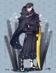 1boy alternate_color arm_warmers black_cape black_hakama black_legwear black_robe blue_nails cape creatures_(company) earrings game_freak gen_7_pokemon grey_background hair_over_one_eye hakama highres hood hood_down japanese_clothes jewelry kasuka108 looking_at_viewer male_focus nail_polish nintendo palossand personification planted_weapon pokemon ring sandals shiny_pokemon simple_background smile solo sword toes weapon