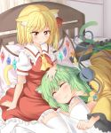 2girls animal_ears ascot bed bed_sheet black_hat blonde_hair blush bow cat_ears cat_tail closed_eyes crystal dress eyeball flandre_scarlet frilled_dress frilled_shirt_collar frills green_hair green_skirt hand_on_another's_head hat hat_bow hat_ribbon heart heart_of_string indoors kemonomimi_mode komeiji_koishi lap_pillow lying multiple_girls nagomian on_bed on_side pillow puffy_short_sleeves puffy_sleeves red_dress red_ribbon ribbon shirt short_hair short_sleeves sitting skirt smile tail third_eye touhou white_legwear wide_sleeves wings yellow_bow yellow_neckwear yellow_ribbon yellow_shirt yuri