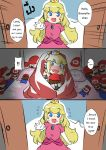 2girls 3koma blanket blonde_hair blush bowsette cabbie_hat character_doll comic doll_hug english engrish flying_sweatdrops hat horns looking_at_another mario_(series) multiple_girls new_super_mario_bros._u_deluxe nintendo princess_peach ranguage sesield super_crown sweatdrop walk-in