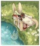 1other ambiguous_gender animal_ears different_reflection eyebrows_visible_through_hair flower furry kawasemi27 kneeling looking_away made_in_abyss nanachi_(made_in_abyss) nanachi_(made_in_abyss)_(human) parted_lips petals petals_on_liquid reflection ripples tail water white_hair yellow_eyes