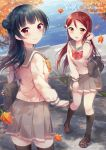 2girls anko_(love_live!_sunshine!!) autumn autumn_leaves bag bag_charm bangs black_footwear black_legwear blue_hair blush character_name charm_(object) copyright_name cover cover_page doujin_cover eyebrows_visible_through_hair grey_skirt hand_up hazuki_(sutasuta) highres kneehighs loafers long_hair long_sleeves looking_at_viewer looking_back love_live! love_live!_sunshine!! miniskirt multiple_girls outdoors pleated_skirt redhead sakurauchi_riko school_bag school_uniform serafuku shoes side_bun skirt standing thigh-highs tsushima_yoshiko violet_eyes yellow_eyes