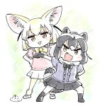 2girls :d animal_ears black_hair black_neckwear black_skirt blonde_hair blush_stickers bow bowtie brown_eyes center_frills chibi commentary common_raccoon_(kemono_friends) extra_ears eyebrows_visible_through_hair fang fennec_(kemono_friends) fox_ears full_body fur_collar grey_hair hand_on_another's_head kemono_friends looking_at_viewer multicolored_hair multiple_girls open_mouth outstretched_arm panzuban pleated_skirt raccoon_ears raccoon_tail short_hair simple_background skirt smile tail triangle_mouth two-tone_hair white_skirt yellow_neckwear