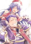 1boy 1girl armor blue_hair carrying closed_eyes father_and_daughter fire_emblem fire_emblem:_fuuin_no_tsurugi fire_emblem:_rekka_no_ken fire_emblem_heroes gauntlets grin hand_holding hat hector_(fire_emblem) highres lilina long_hair nakabayashi_zun nintendo open_mouth red_hat short_hair shoulder_armor shoulder_carry simple_background smile white_background