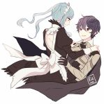 1boy 1girl 2016 alternate_hairstyle armor back black_gloves black_hair blue_hair blush cape closed_mouth commentary dinikee english_commentary eyebrows_visible_through_hair fire_emblem fire_emblem_if flora_(fire_emblem_if) gloves grey_eyes hand_on_another's_hip hand_on_another's_shoulder looking_at_another maid maid_dress maid_headdress male_my_unit_(fire_emblem_if) my_unit_(fire_emblem_if) nintendo pointy_ears red_eyes signature simple_background smile twintails white_background