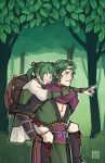 1boy 1girl carrying father_and_daughter fire_emblem fire_emblem_if forest green_eyes green_hair hat japanese_clothes midoriko_(fire_emblem_if) nature nintendo piggyback pointing_finger smile straw_hat suzukaze_(fire_emblem_if) tree twintails