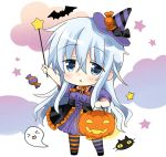 1girl alternate_costume bat black_cat blue_eyes candy cat chibi clouds commentary_request dress food full_body ghost hat hibiki_(kantai_collection) highres hizuki_yayoi jack-o'-lantern kantai_collection long_hair purple_dress silver_hair solo standing striped striped_legwear triangle_mouth wand witch_hat