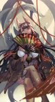 1girl absurdres akagi_(azur_lane) animal_ears azur_lane bangs black_gloves blush breasts brown_hair brown_legwear commentary day eyebrows_visible_through_hair fan floating_hair folding_fan fox_ears fox_tail fujita_(condor) gloves highres holding holding_fan japanese_clothes large_breasts legs_crossed long_hair looking_at_viewer multiple_tails outdoors red_eyes sidelocks sitting smile smirk solo tail thigh-highs thighs wide_sleeves wind