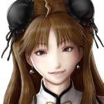 1girl brown_eyes brown_hair bun_cover double_bun earrings eyebrows_visible_through_hair jewelry looking_at_viewer nix_(ak-style) realistic renka_(senran_kagura) senran_kagura smile solo