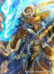 1boy armor belt blue_armor blue_eyes blue_fire blue_footwear brown_gloves brown_hair cape collar copyright_name debris fire fire_emblem fire_emblem:_souen_no_kiseki fire_emblem_cipher gauntlets gawain_(fire_emblem) gloves greaves greil holding holding_sword holding_weapon horseback_riding house kita_senri male_focus nintendo official_art open_mouth riding rubble serious solo sword teeth weapon yellow_cape younger
