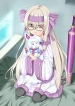 1girl absurdres ainu_clothes animal bangs bed bed_sheet blonde_hair bow creature familiar fate/grand_order fate_(series) fingerless_gloves fou_(fate/grand_order) glasses gloves hair_bow hair_ribbon hairband highres illyasviel_von_einzbern long_hair looking_at_viewer nicoseiga18367041 purple_gloves red_eyes ribbon scarf screen sheath sheathed sitonai smile sword touchscreen twintails weapon
