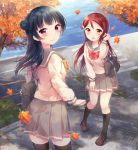 2girls anko_(love_live!_sunshine!!) autumn autumn_leaves bag bag_charm bangs black_footwear black_legwear blue_hair blush character_name charm_(object) copyright_name cover cover_page doujin_cover eyebrows_visible_through_hair grey_skirt hand_up hazuki_(sutasuta) highres kneehighs loafers long_hair long_sleeves looking_at_viewer looking_back love_live! love_live!_sunshine!! miniskirt multiple_girls outdoors pleated_skirt redhead sakurauchi_riko school_bag school_uniform serafuku shoes side_bun skirt standing textless thigh-highs tsushima_yoshiko violet_eyes yellow_eyes