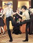 1girl 6+boys black_hair blonde_hair blue_eyes blush bottle brown_eyes cellphone checkered checkered_floor christophe_giacometti collared_shirt dancing dark_skin dark_skinned_male dress formal green_eyes grey_eyes high_heels jewelry katsuki_yuuri mila_babicheva multiple_boys necktie necktie_on_head one_knee open_mouth otabek_altin phichit_chulanont phone redhead ring shirt silver_hair smartphone smile suit table viktor_nikiforov wine_bottle yamano_uzura yuri!!!_on_ice yuri_plisetsky