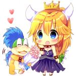 1boy 1girl :o bangs bare_shoulders black_collar black_dress blonde_hair blue_eyes blue_hair blush bouquet bowsette bracelet chibi chocolat_(momoiro_piano) closed_eyes collar commentary_request crown dress eyebrows_visible_through_hair fang flower hair_between_eyes hand_up heart holding holding_bouquet jewelry larry_koopa long_hair mario_(series) mini_crown new_super_mario_bros._u_deluxe nintendo open_mouth pink_flower ponytail simple_background spiked_bracelet spiked_collar spiked_shell spikes standing strapless strapless_dress super_crown turtle_shell very_long_hair white_background
