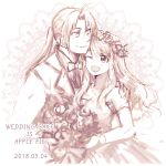 1boy 1girl 2018 ;d bangs bare_shoulders bouquet couple dated dress edward_elric elbow_gloves english eyebrows_visible_through_hair floating_hair flower formal fullmetal_alchemist gloves hands_on_another's_shoulders happy head_wreath height_difference hetero holding honeycomb_(pattern) honeycomb_background jewelry long_hair looking_at_another looking_down looking_up monochrome necklace necktie one_eye_closed open_mouth pearl_necklace shaded_face simple_background smile suit text_focus tsukuda0310 wedding_dress white_background winry_rockbell