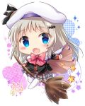 1girl :d bangs bat_hair_ornament beret black_shirt blue_eyes blush bow broom broom_riding brown_cape cape chibi commentary_request eyebrows_visible_through_hair fang full_body grey_skirt hair_ornament hat heart light_brown_hair little_busters! long_hair long_sleeves maruma_(maruma_gic) multicolored multicolored_cape multicolored_clothes no_shoes noumi_kudryavka open_mouth outstretched_arm pink_bow plaid plaid_skirt pleated_skirt school_uniform shirt signature skirt smile solo sparkle thigh-highs very_long_hair white_background white_cape white_hat white_legwear