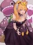 1girl absurdres bangs bare_shoulders black_dress black_nails blonde_hair blue_eyes bob-omb boo bowsette breasts brooch chain_chomp cleavage collar dress fang highres horns jewelry leaning_forward long_ponytail looking_at_viewer mario_(series) medium_breasts nail_polish new_super_mario_bros._u_deluxe nintendo saino shiny shiny_hair shiny_skin short_hair sidelocks smile solo spiked_collar spiked_shell spiked_tail spikes strapless strapless_dress super_crown super_mario_bros. waist_cape
