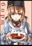 1girl anchor black_bow blue_shawl borscht_(food) bow brown_hair cyrillic eyebrows_visible_through_hair food hair_between_eyes hair_bow hair_ornament hairclip hat highres jacket kantai_collection long_hair looking_at_viewer orange_eyes papakha plate red_shirt russian russian_clothes scarf seitei_(04seitei) shawl shirt solo tashkent_(kantai_collection) torn_clothes twintails white_jacket white_scarf