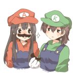 2girls akagi_(kantai_collection) black_eyes blue_overalls blush brown_hair commentary_request cosplay crossdressing crossover facial_hair fake_facial_hair fake_mustache green_hat green_shirt hat kaga_(kantai_collection) kantai_collection long_hair lowres luigi luigi_(cosplay) mario mario_(cosplay) mario_(series) multiple_girls mustache nintendo open_mouth overalls rebecca_(keinelove) shirt short_hair side_ponytail single_letter smile super_mario_bros. sweat