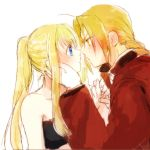 1boy 1girl ahoge annoyed antenna_hair bangs bare_shoulders black_tubetop blonde_hair blue_eyes blush braid close-up coat collarbone couple edward_elric eye_contact eyebrows_visible_through_hair eyes_visible_through_hair face face-to-face fingernails from_side fullmetal_alchemist gloves hand_holding hand_on_another's_cheek hand_on_another's_face hand_up hetero highres jacket long_hair long_sleeves looking_at_another neck nervous noses_touching ponytail profile red_coat red_jacket serious sidelocks simple_background strapless sweatdrop tsukuda0310 tubetop upper_body white_background white_gloves winry_rockbell yellow_eyes