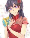 1girl akatsuki_kouya bangs black_hair closed_mouth commentary_request d.gray-man dress eyebrows_visible_through_hair floral_print flower gift hair_flower hair_ornament hands_up happy_birthday highres holding holding_gift lenalee_lee long_hair looking_at_viewer red_dress red_flower rose short_sleeves smile solo white_background