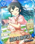 black_hair blush character_name closed_eyes dress idolmaster idolmaster_cinderella_girls long_hair ohishi_izumi pig smile stars