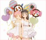 2girls akemi_homura balloon bangs character_balloon charlotte_(madoka_magica) collarbone cowboy_shot dress eyebrows_visible_through_hair hair_ribbon hairband hakusai_(tiahszld) hand_holding holding_balloon kaname_madoka long_hair looking_at_viewer mahou_shoujo_madoka_magica multiple_girls off-shoulder_dress off_shoulder pink_eyes pink_hair red_ribbon ribbon shoulder-to-shoulder smile twintails violet_eyes white_dress