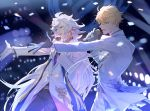 arthur_pendragon_(fate) belt black_gloves black_pants black_shirt blonde_hair blue_eyes fate/grand_order fate_(series) formal gloves jacket merlin_(fate) microphone music necktie open_mouth pants reaching_out shirt singing smile suit sweatdrop violet_eyes white_gloves white_hair white_jacket white_pants wuren_daoshang_dekezong