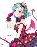 1girl aqua_hair armlet bang_dream! bat bow bowtie bracelet crown demon_horns demon_tail demon_wings dress earrings finger_to_cheek fur_collar gloves green_eyes grin heart heart_earrings hikawa_hina horns jack-o'-lantern jewelry kjkj_(dirnrhd80) lace lace-trimmed_gloves looking_at_viewer mini_crown one_eye_closed pink_gloves pinky_out polka_dot polka_dot_dress red_dress smile solo striped striped_neckwear tail vertical-striped_dress vertical_stripes wings