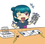 >_o :d black_hair blush_stickers company_connection fang gundam gundam_bael gundam_tekketsu_no_orphans gunpla love_live! love_live!_sunshine!! model_building one_eye_closed open_mouth red_eyes shiroyama-san smile sunrise_(company) sweater table tsushima_yoshiko white_background