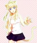 1girl :o animal_ears bangs bare_arms bare_shoulders blonde_hair blue_eyes blush blush_stickers cat_ears cat_paws cat_tail cowboy_shot expressionless eyebrows_visible_through_hair floating_hair fullmetal_alchemist head_tilt long_hair looking_at_viewer open_mouth paws pink_background polka_dot polka_dot_background ponytail shirt simple_background skirt sleeveless sleeveless_shirt solo standing tail teeth thighs tsukuda0310 upper_body white_shirt winry_rockbell